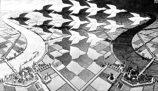 Escher- Иллюзия соотношения фигуры и фона.