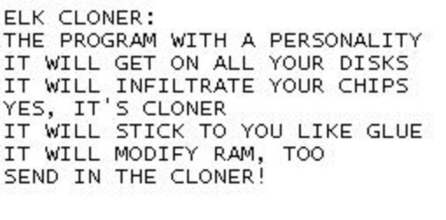 Первый загрузочный вирус для ПЭВМ Apple II