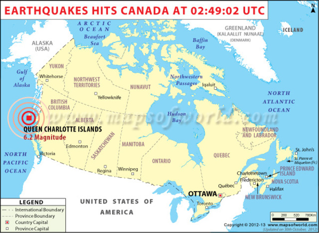 A powerful earthquake with a magnitude of 7.7 hit Canada's Pacific coastal