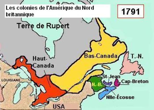 L'acte constitutionnel crée le Haut-Canada et le Bas-Canada