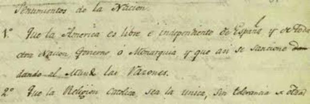 Se inaugura el congreso de chilpancingo y se leen los sentimientos de la nacion escrtitos por morelos.