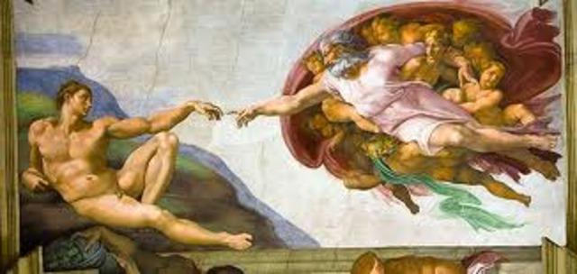 Michelangelo paints the ceiling of Sistine Chapel