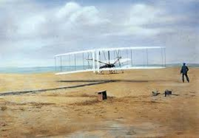 Wright brothers fly first motor-driven plane