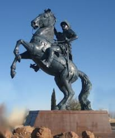 someon cuts the right foot off the Don Juan de Onate statue.