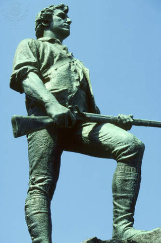 Revolutionary War starts at Lexington and Concord in Massachusetts