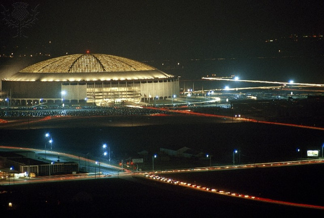 Houston Astrodome, the worlds first domed sports stadium opened.