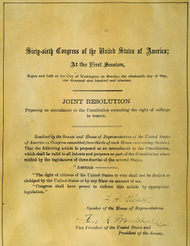 The Nineteenth Amendment to the United States Constitution gives women the right to vote.