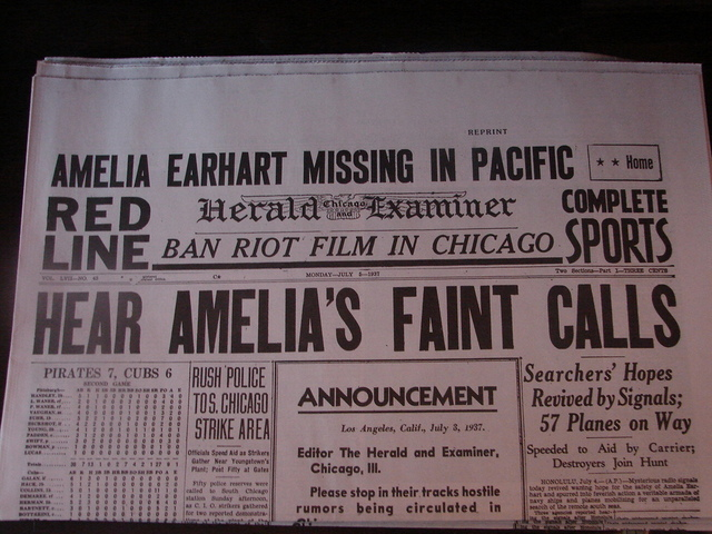 Amelia Earhart disappears