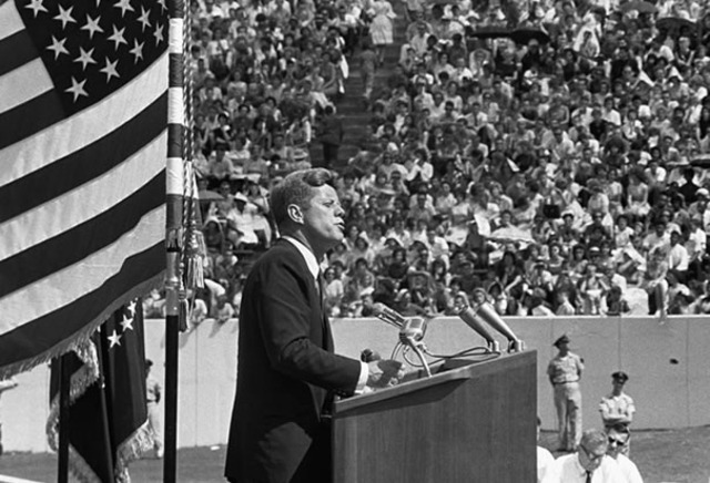 John F. Kennedy challenges nation to go to moon