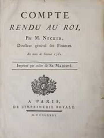 Necker publica Compte rendu au Roi. 19 de Mayo Destitución de Necker.