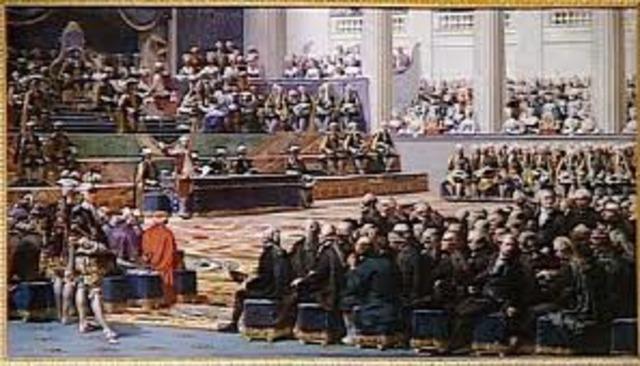 Estados Generales convocados para Myo de 1789. Parcial bancarrota del estado: Hacienda suspende pagos. Brienne dimite; Necker renombrado.