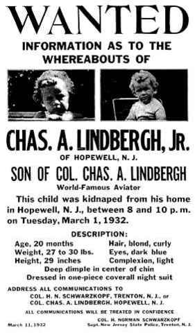 Lindbergh baby kidnapped.