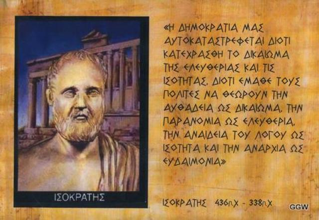 Isocrates, 338 Starves Self to Death after Lost Battle of Chaeonea