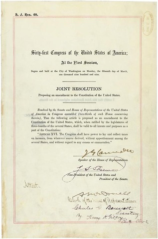The Sixteenth Amendment: Federal Income Tax