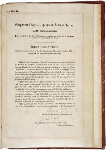 The Seventeenth Amendment: Direct Election of the U.S. Senators