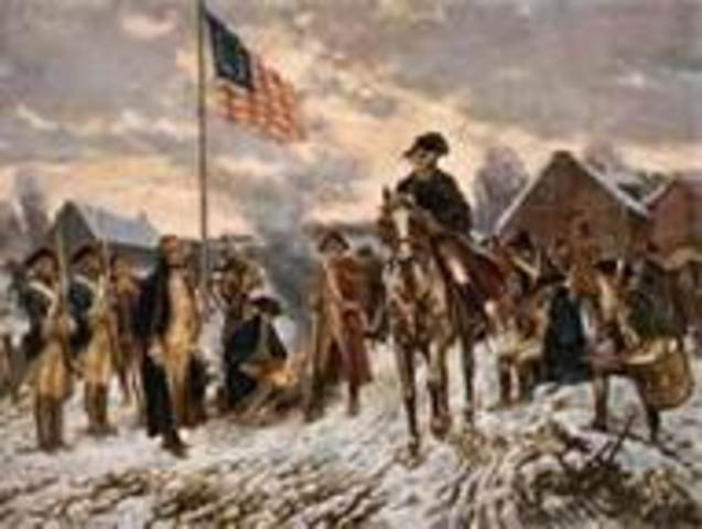 Washington and troops camp at Valley Forge