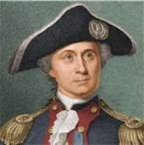 John Paul Jones commands the ship Bonhomme Richard and defeats the British ship Serapis in a rare American victory at sea