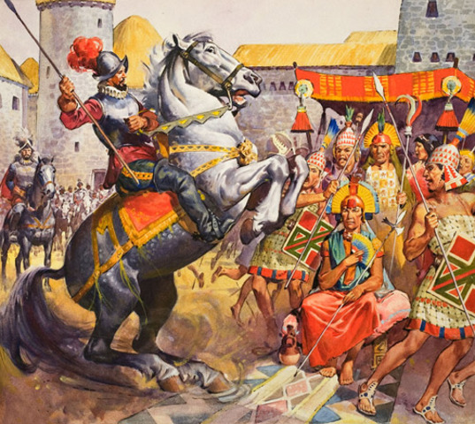 Spaniards start conquest of the Inca Empire