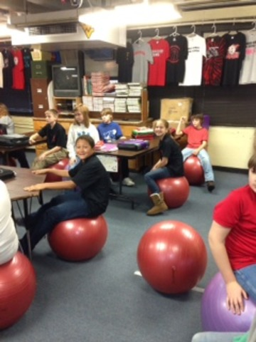 First Day Stability Balls were used as chairs in our Health Classes
