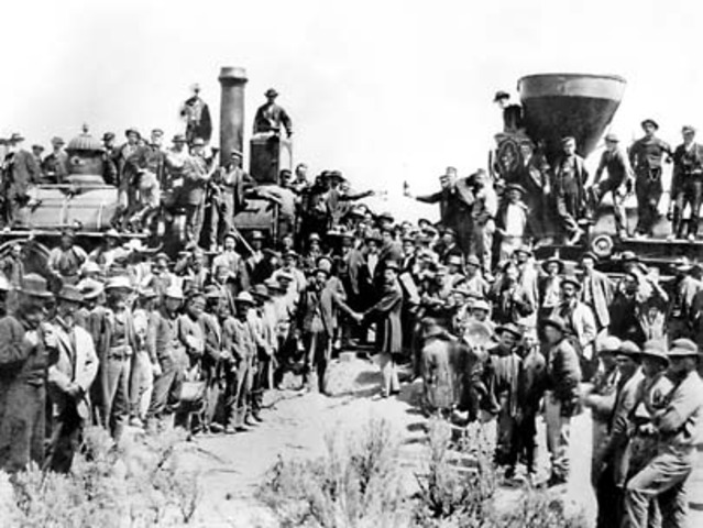 Railroad Workers Finish The First Transcontinental Rail Road