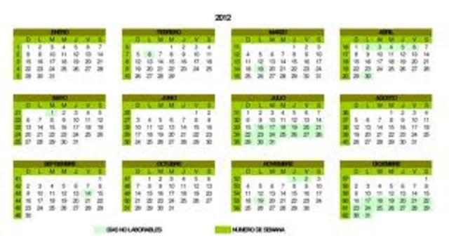 El calendario dias y mes