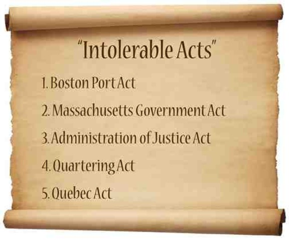 """Coercive Acts (aka the """"Intolerable Acts"""")"""