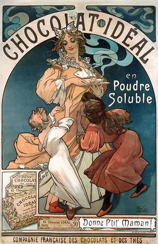 Alfons Marie Mucha - Affiche Chocolat Ideal