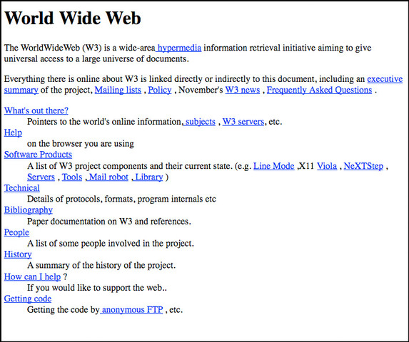 First  web page created