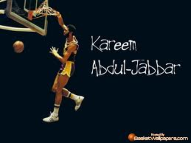 Kareem Abdul-Jabbar becomes the NBA's All-time leader in points scored against the Utah Jazz in Las Vegas Nevada.