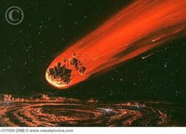 The comet Shoemaker Levy 9 strikes Jupiter