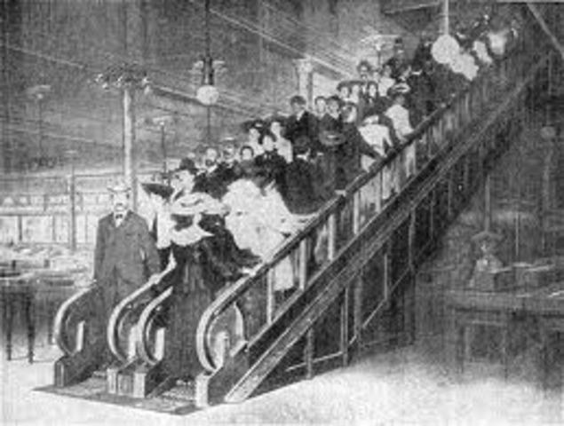 Jesse Reno invents escalator-type elevator apparatus. Files January 2, for patent