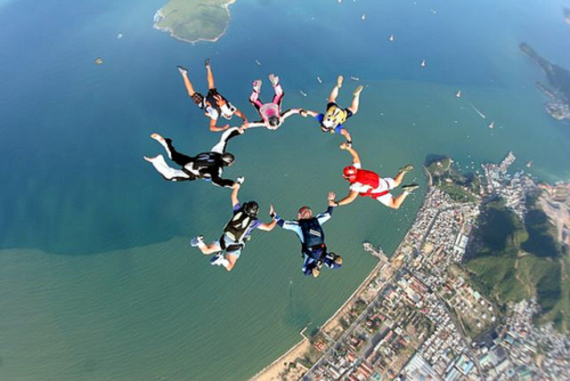 Skydiving with friends