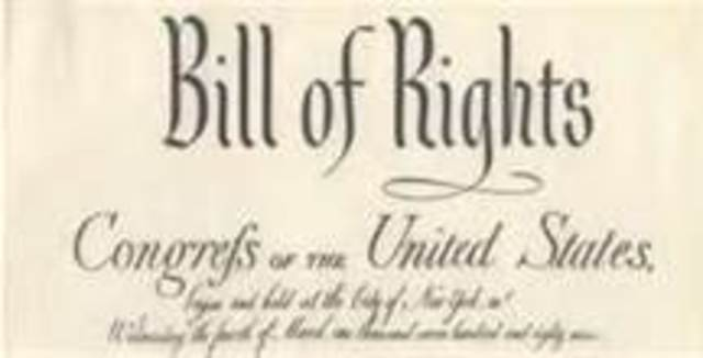 The Bill of Rights (the first ten amendments to the Constitution) is ratified