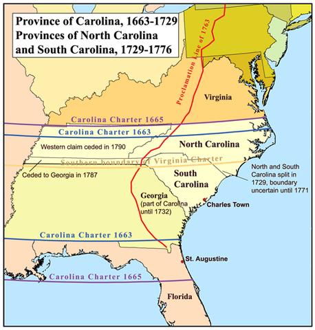 "Charles II grants ""Carolina"" to the Lords Proprietors"
