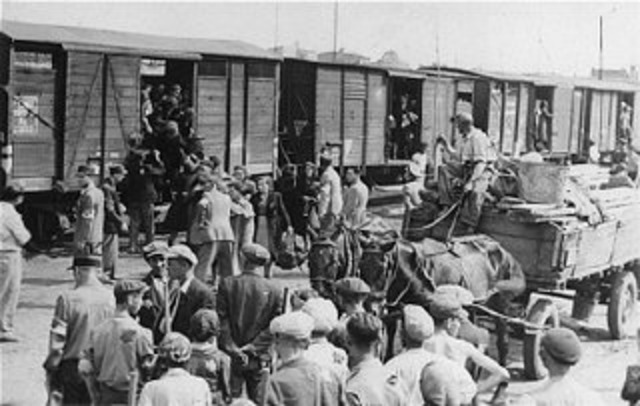 Nazi officials meet in Wannasee to organize the Final Solution (mass murder of Jews in Europe.)