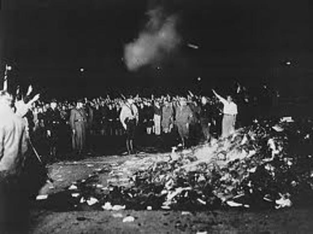Nazis burn books of those considered un-German.