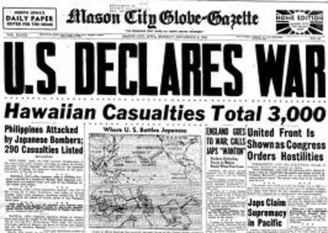 United States declare war on Japan