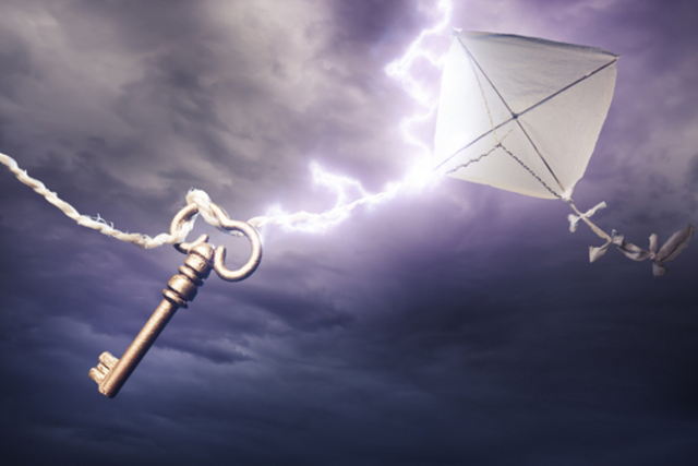 Ben Franklin tied a kay to a string during a thunderstorm, and proved that static electricity and lighting were the same thing.