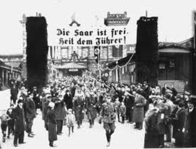The Saar region is annexed by Germany.