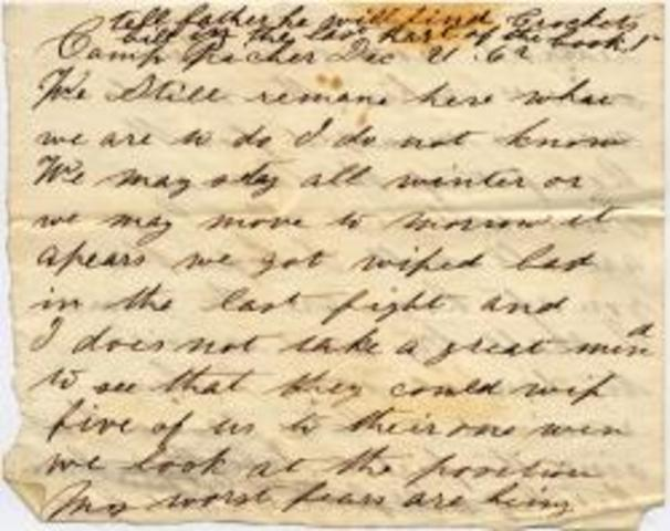 Letter home to his family