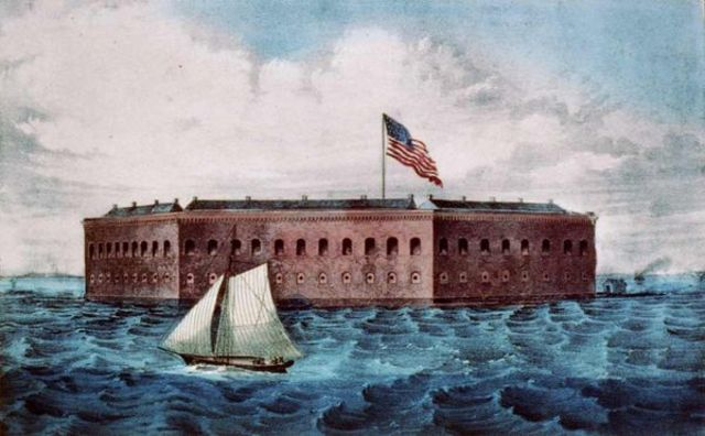 Rebels Fire Cannons at Fort Sumter