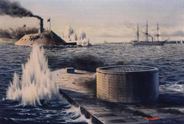 The Battle of Two Ironclad Ships.