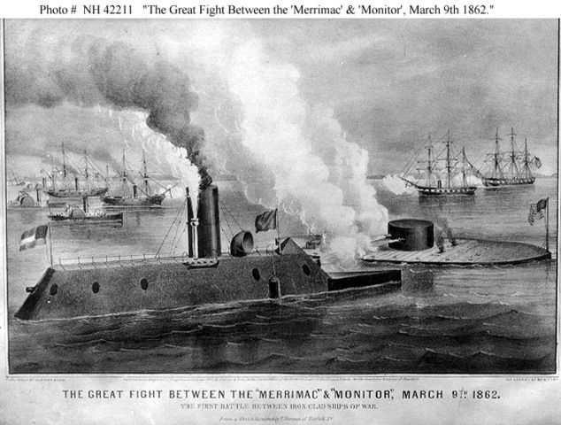 Battle between ironclad ships ends in a draw.