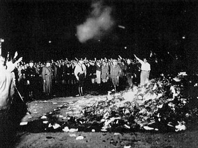 Books by Jews and opponents of Nazism are burned publicly