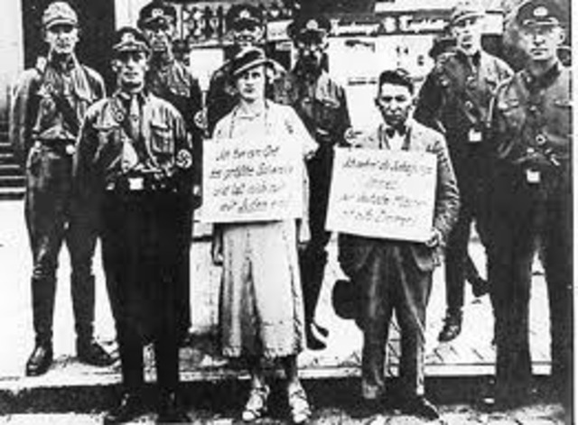The Nuremburg Laws deprive German Jews of their citizenship.