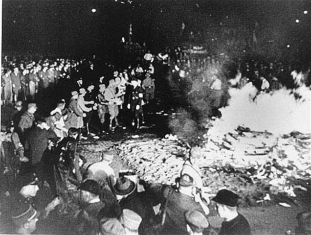 Books by Jews and opponents of Nazism are burned publicly.