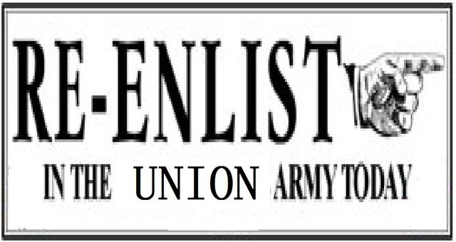 Re-enlists to the Union Army
