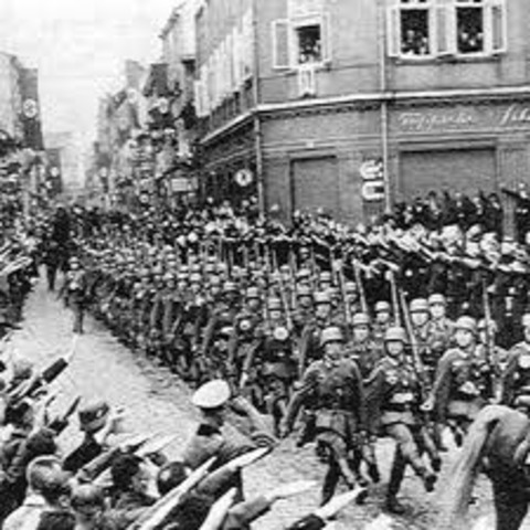 Hitler's army invades.