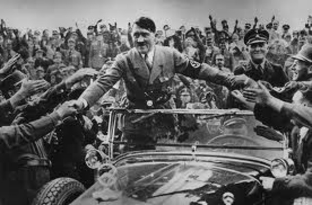 Adolph Hitler declares himself president and Chancellor of the Thi.rd Reich after the death of Paul von Hindenburg.