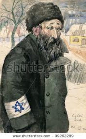 Polish jews forced to wear star on chest or arm